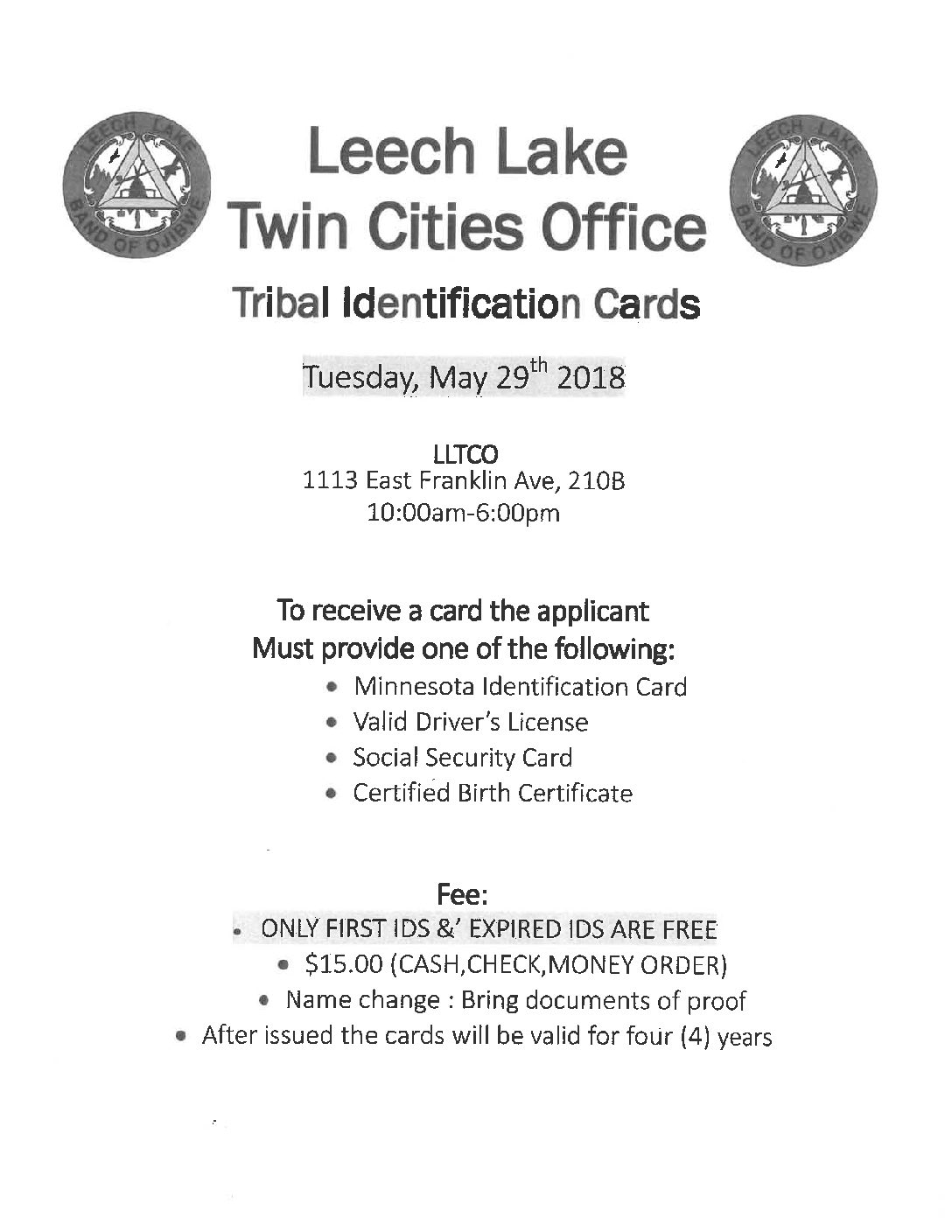 Tribal Ids Minneapolis Leech Lake News
