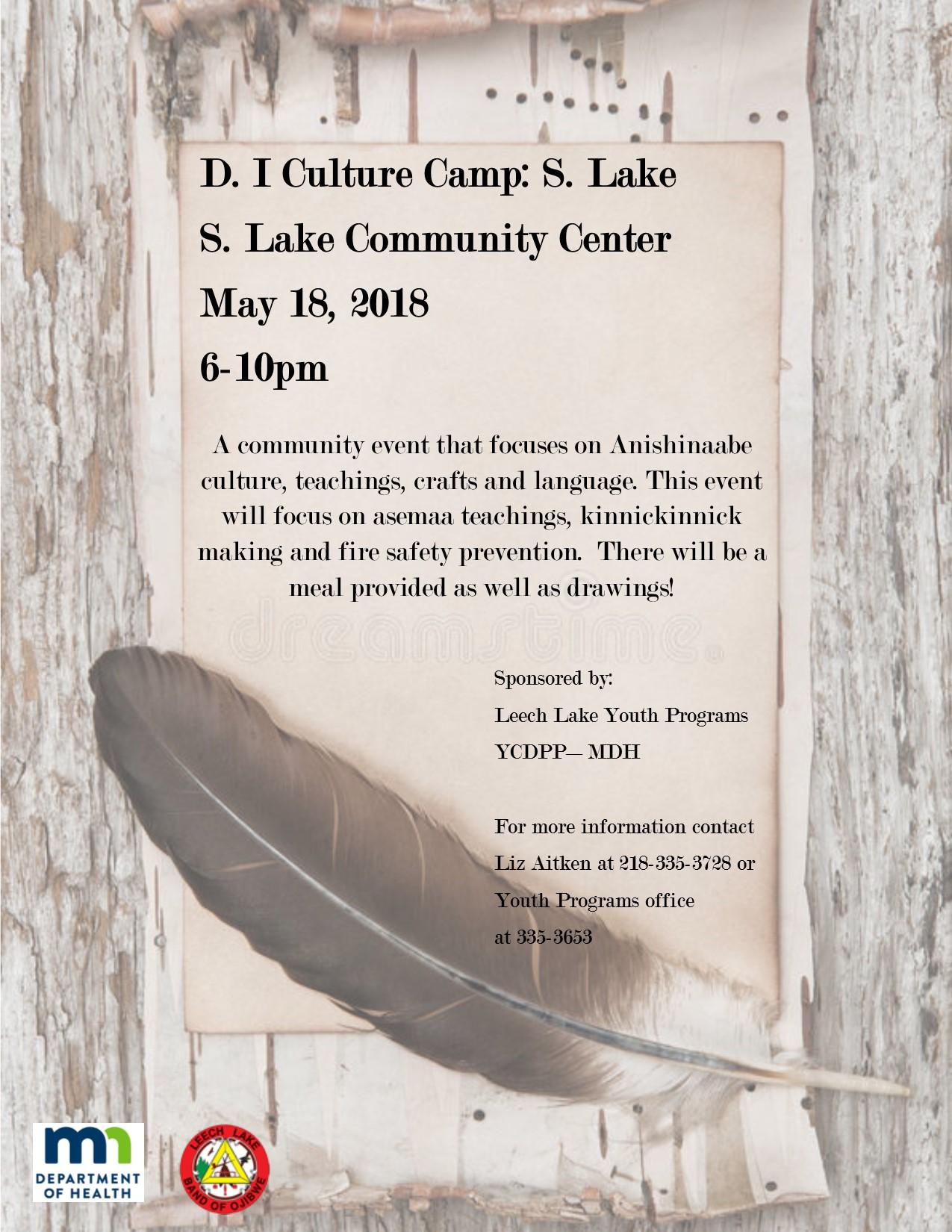 D.I culture camp – S.Lake 5.18.18