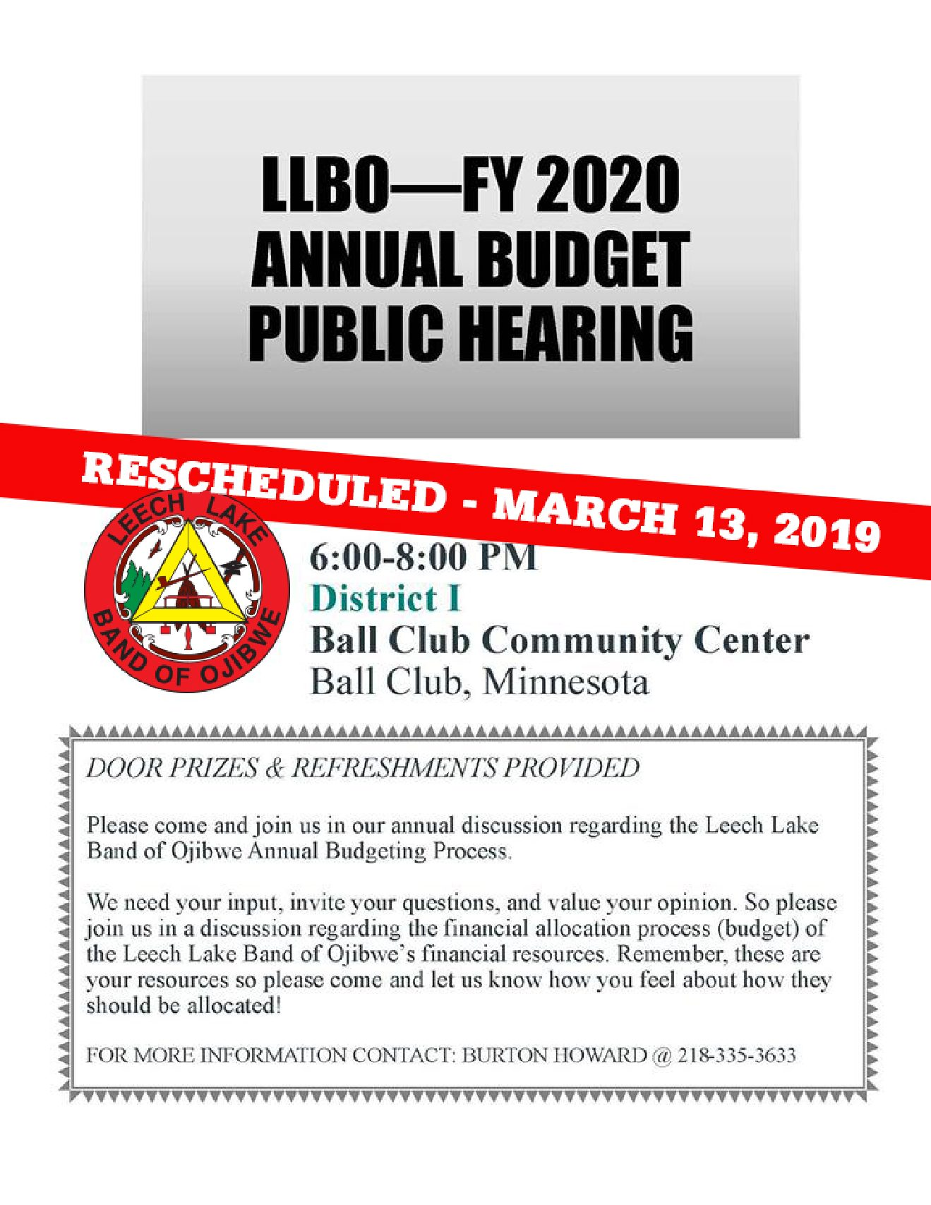 FY2020 Annual Budget Public Hearing- District 1 - Leech Lake
